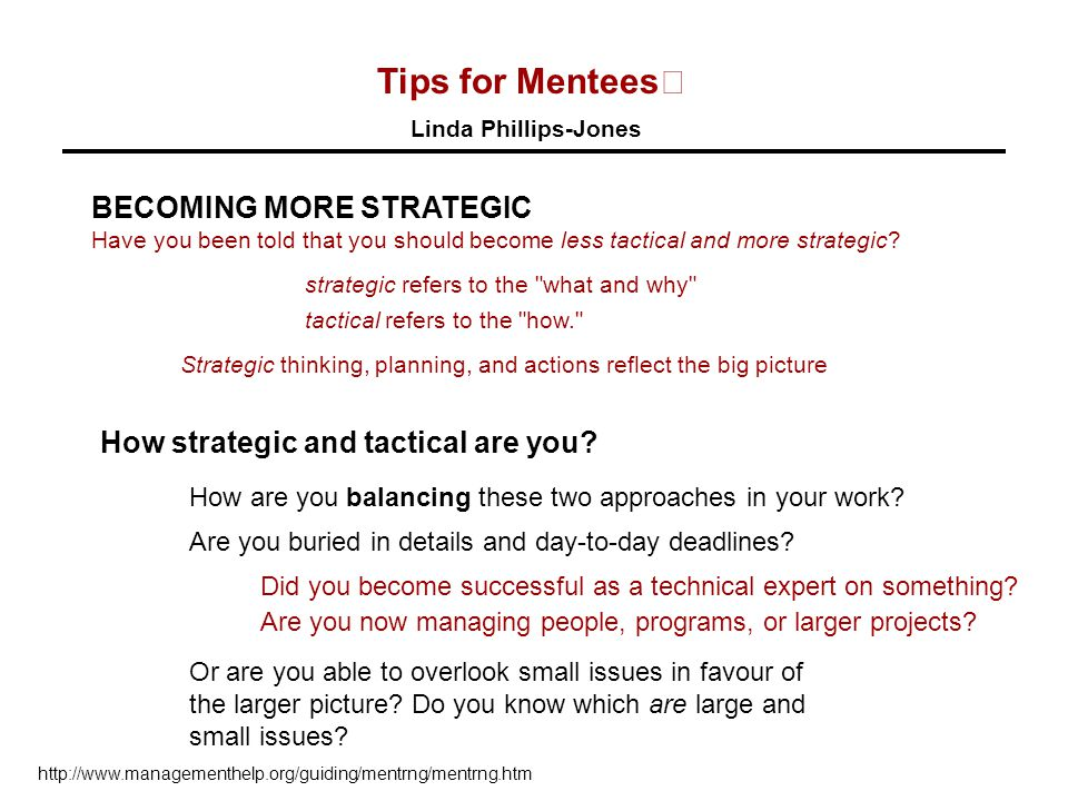 Tips for Mentees Linda Phillips-Jones BECOMING MORE STRATEGIC Have you been told that you should become less tactical and more strategic.