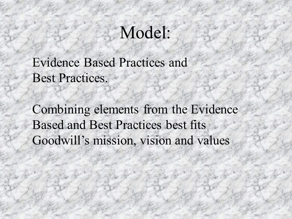Model: Evidence Based Practices and Best Practices.
