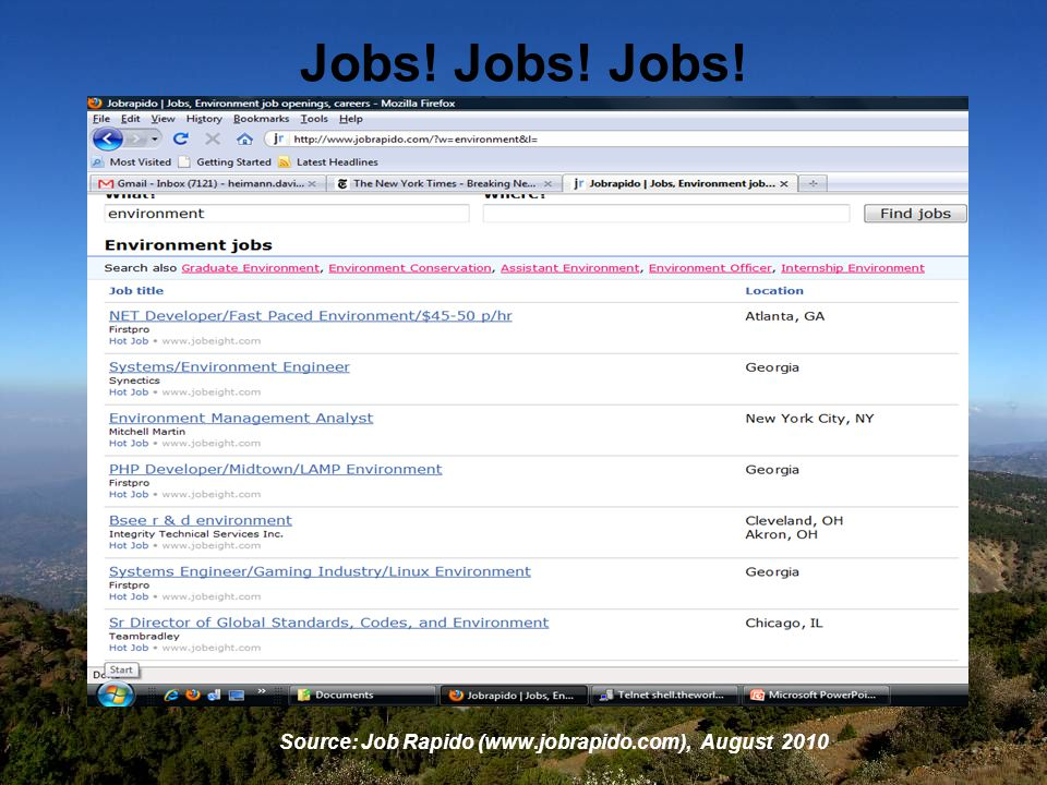 Jobs! Jobs! Jobs! Source: Job Rapido (www.jobrapido.com), August 2010