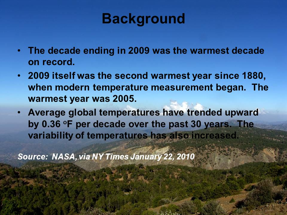 Background The decade ending in 2009 was the warmest decade on record.