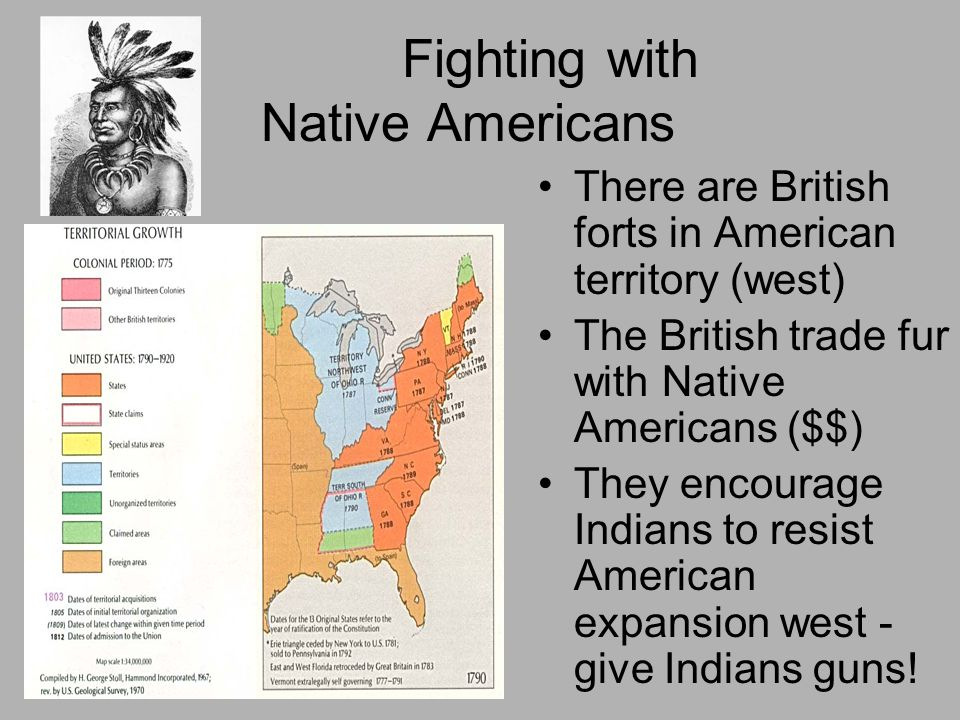 Fighting with Native Americans There are British forts in American territory (west) The British trade fur with Native Americans ($$) They encourage In