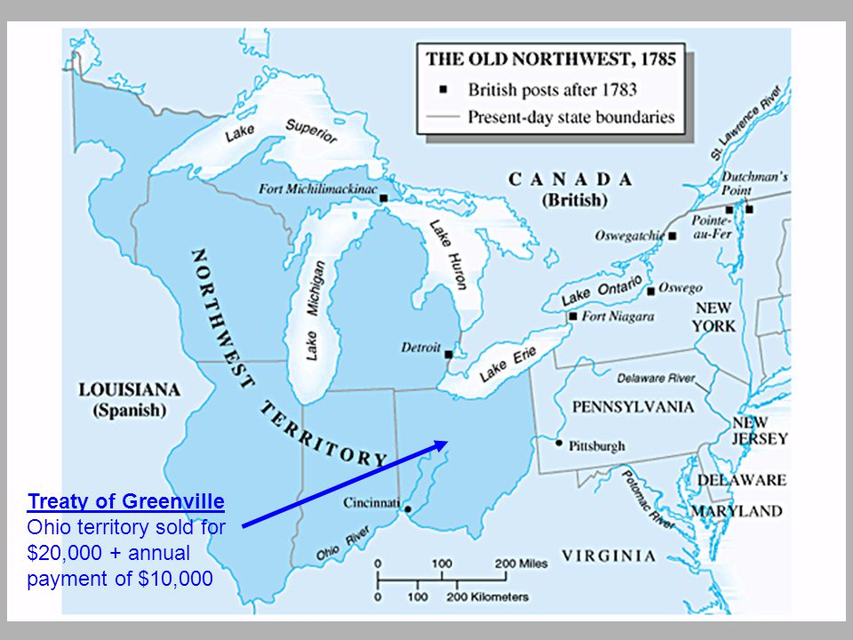 Treaty of Greenville Ohio territory sold for $20,000 + annual payment of $10,000
