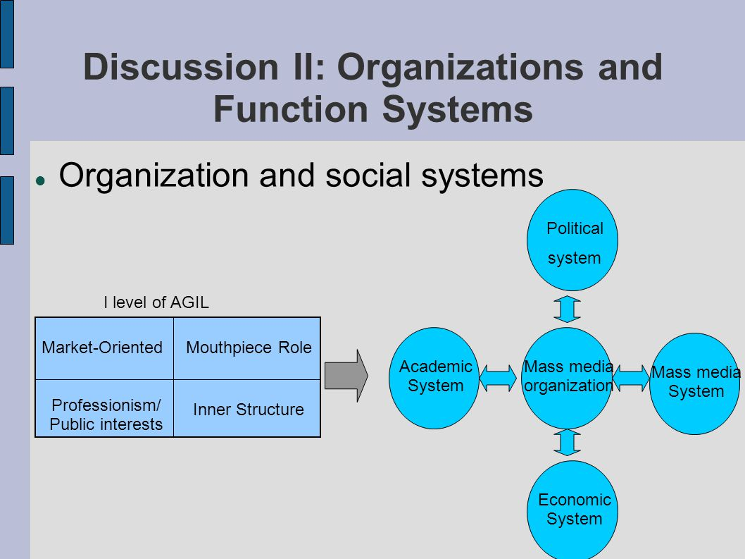 Two Types of Organizations Mass media as an autopoietic organization coupled with several function systems (for instance, mass media system, political system & economic system) State as a special organization which is also autopoietic ( Thyson,2007;W.Schirmer,2007 ) - mainly coupled with one function system - a second order organization that supports the society - try to steer other organizations in a paradoxical way