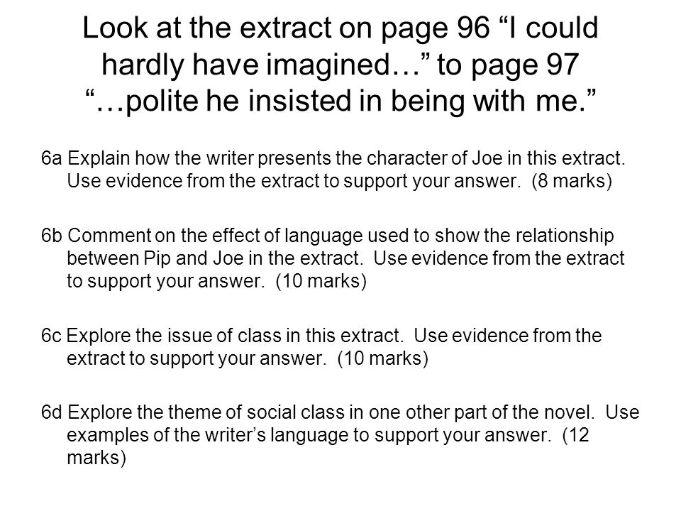 Look at the extract on page 96 I could hardly have imagined… to page 97 …polite he insisted in being with me. 6a Explain how the writer presents the character of Joe in this extract.