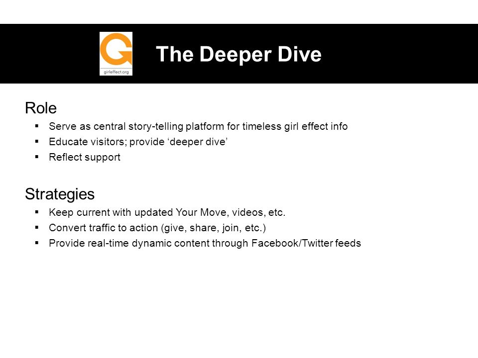 The Deeper Dive Role  Serve as central story-telling platform for timeless girl effect info  Educate visitors; provide 'deeper dive'  Reflect support Strategies  Keep current with updated Your Move, videos, etc.