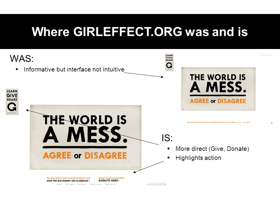 WAS:  Informative but interface not intuitive Where GIRLEFFECT.ORG was and is IS:  More direct (Give, Donate)  Highlights action