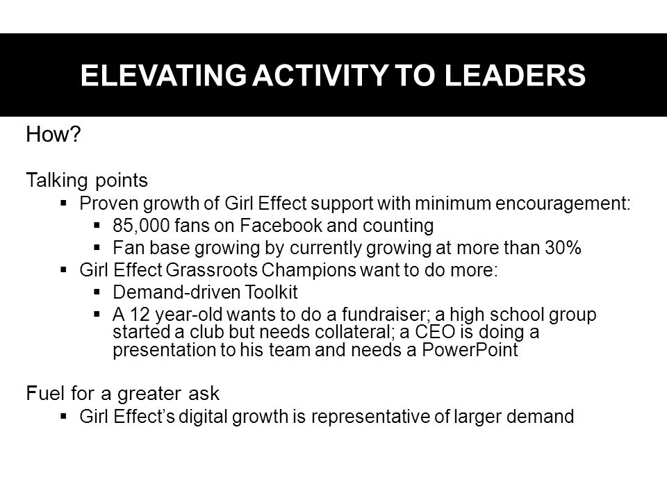 ELEVATING ACTIVITY TO LEADERS How.