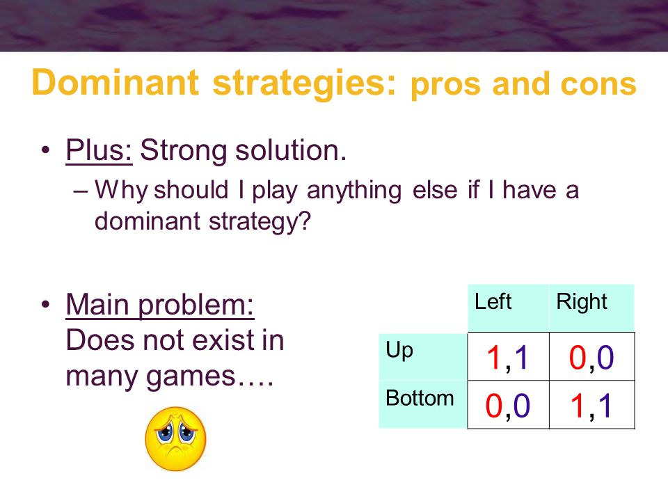 Dominant strategies: pros and cons Plus: Strong solution.