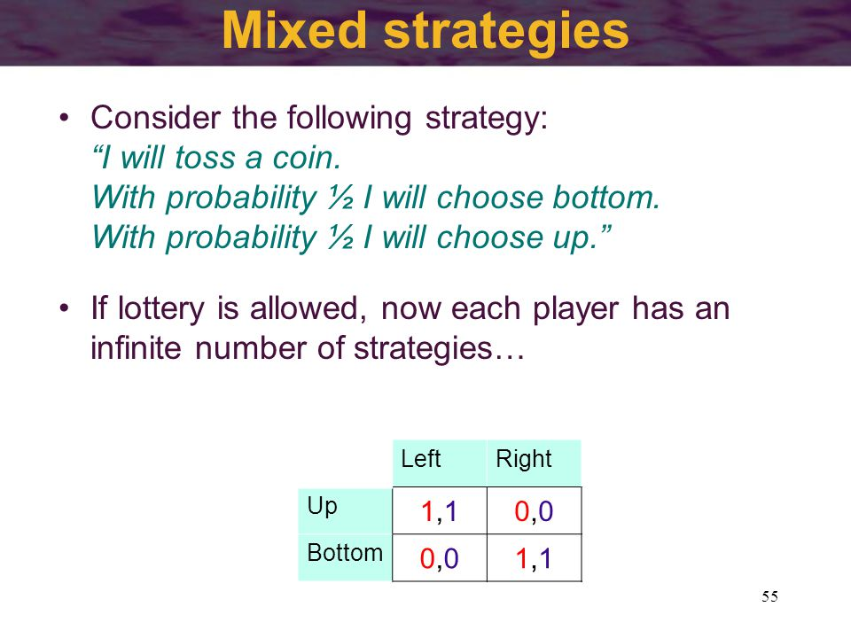 55 Mixed strategies Consider the following strategy: I will toss a coin.