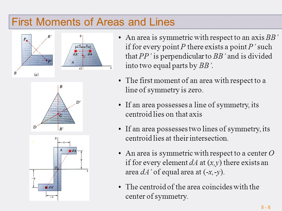 5 - 6 First Moments of Areas and Lines An area is symmetric with respect to an axis BB' if for every point P there exists a point P' such that PP' is