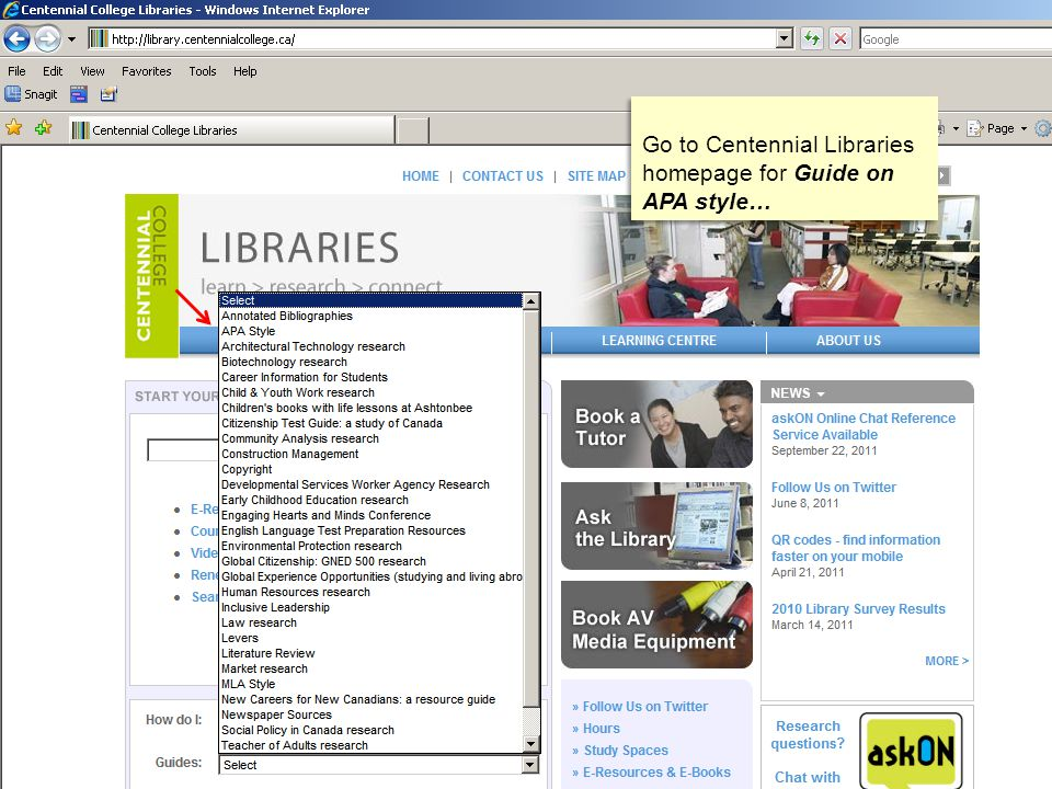 Go to Centennial Libraries homepage for Guide on APA style…