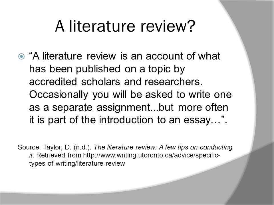 A literature review.