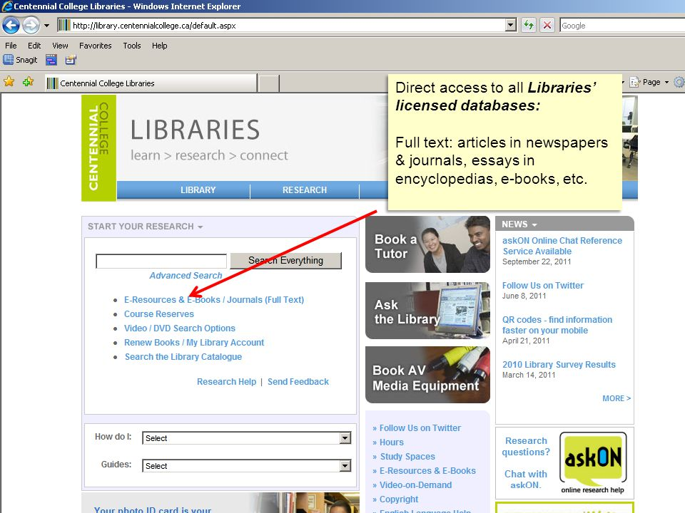 Direct access to all Libraries' licensed databases: Full text: articles in newspapers & journals, essays in encyclopedias, e-books, etc.