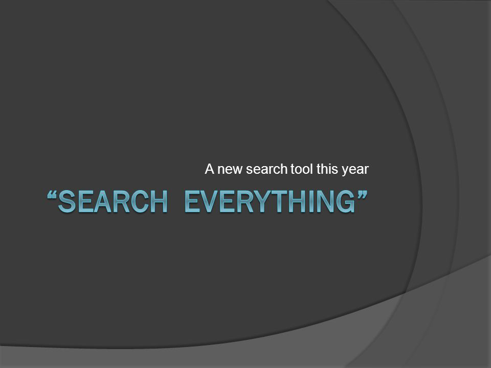 A new search tool this year