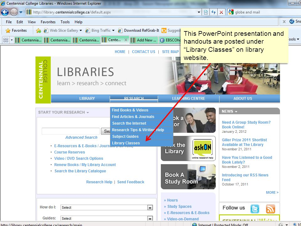 This PowerPoint presentation and handouts are posted under Library Classes on library website.