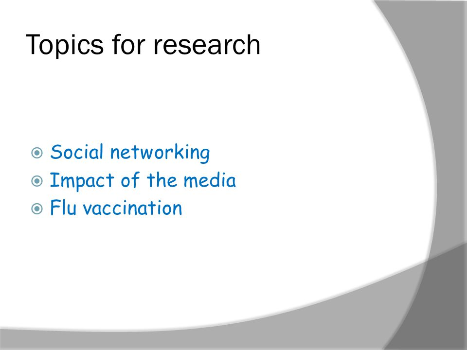 Topics for research  Social networking  Impact of the media  Flu vaccination