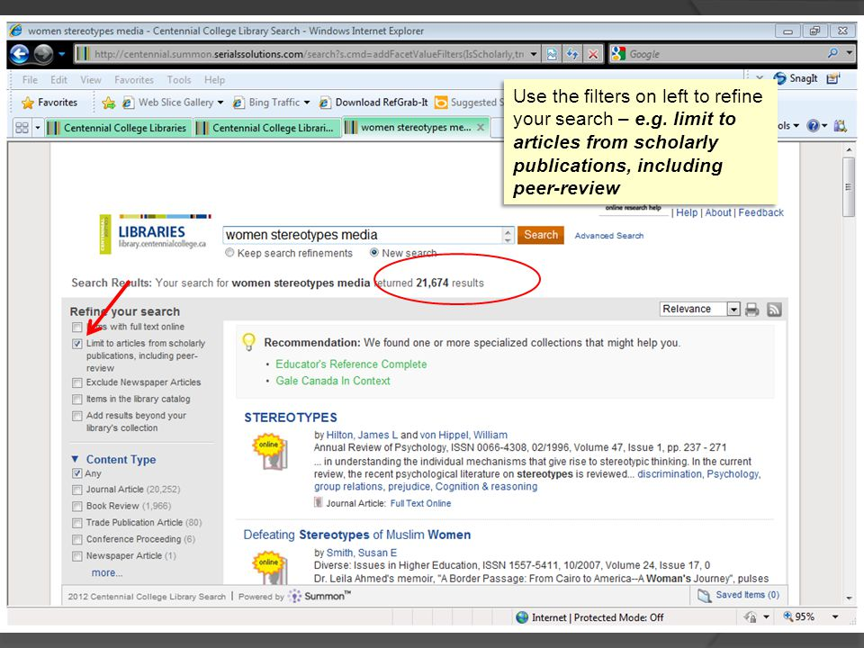 Use the filters on left to refine your search – e.g.
