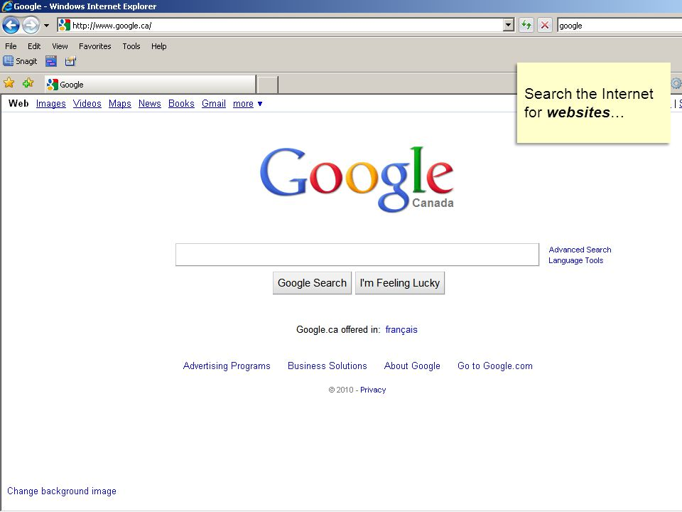 Search the Internet for websites…