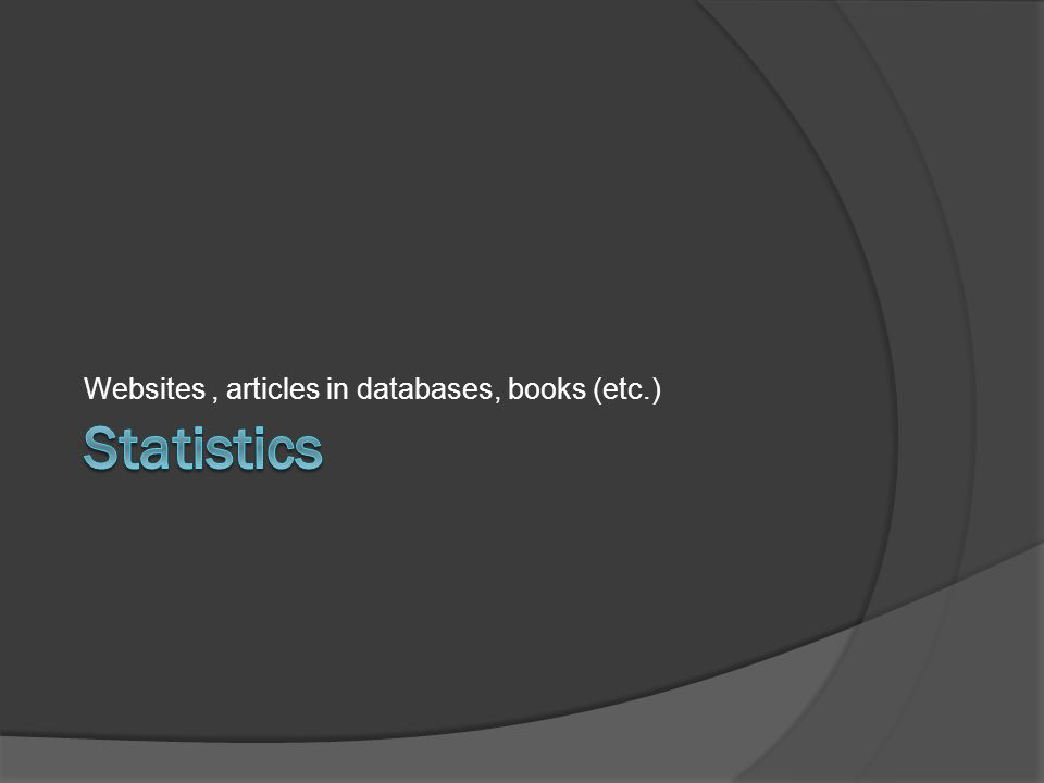 Websites, articles in databases, books (etc.)