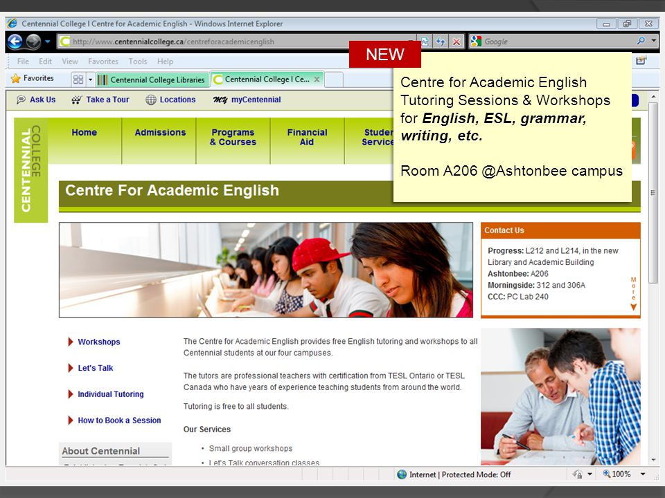 Centre for Academic English Tutoring Sessions & Workshops for English, ESL, grammar, writing, etc.