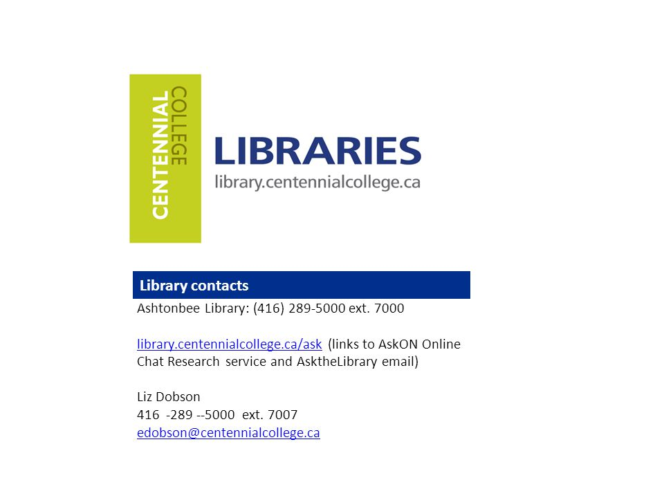 Library contacts Ashtonbee Library: (416) 289-5000 ext.