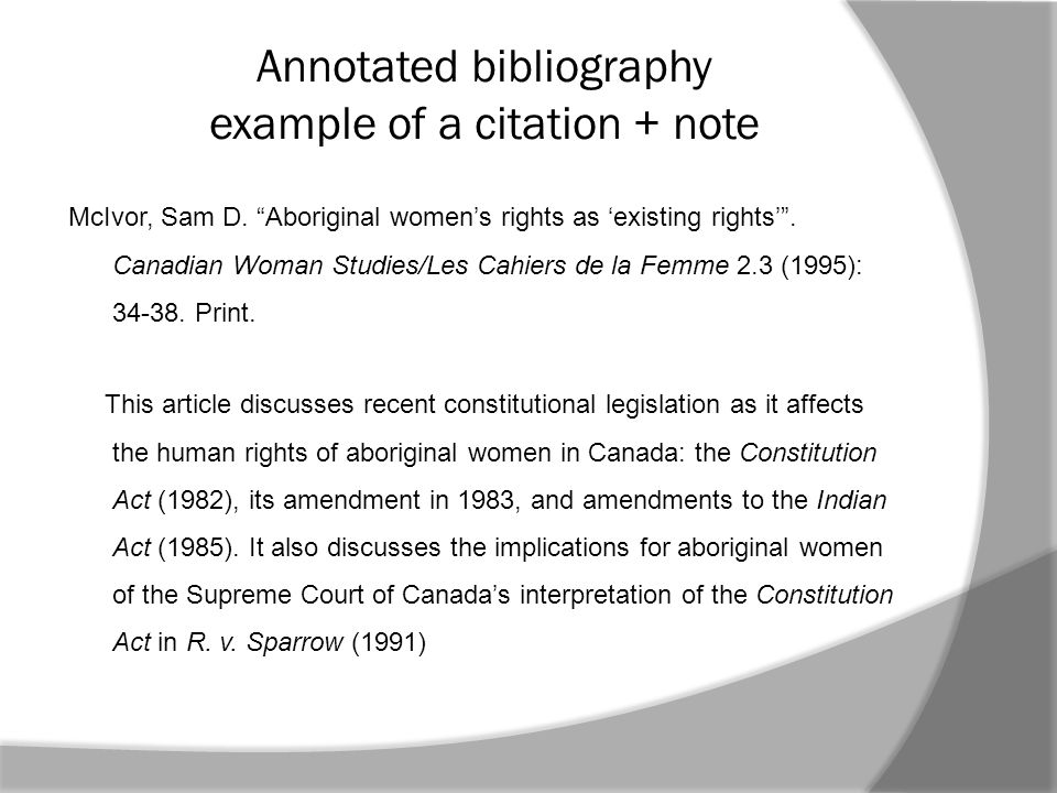 Annotated bibliography example of a citation + note McIvor, Sam D.