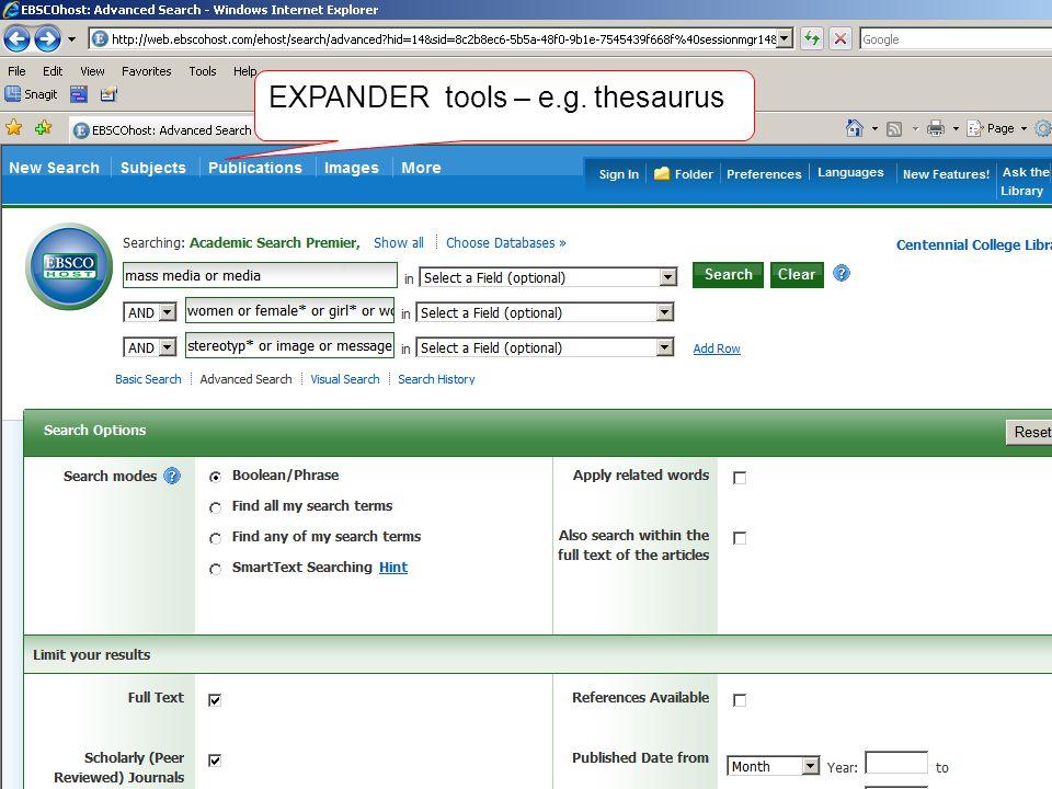 EXPANDER tools – e.g. thesaurus