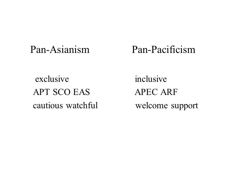 Ž Multilateral institutions  the ARF and the APEC U.S perspectives of the ARF: constrained contribution to regional security talk shop → preventive diplomacy Issues of the APEC: politics and security issues promotion for free trade and economic cooperation { {