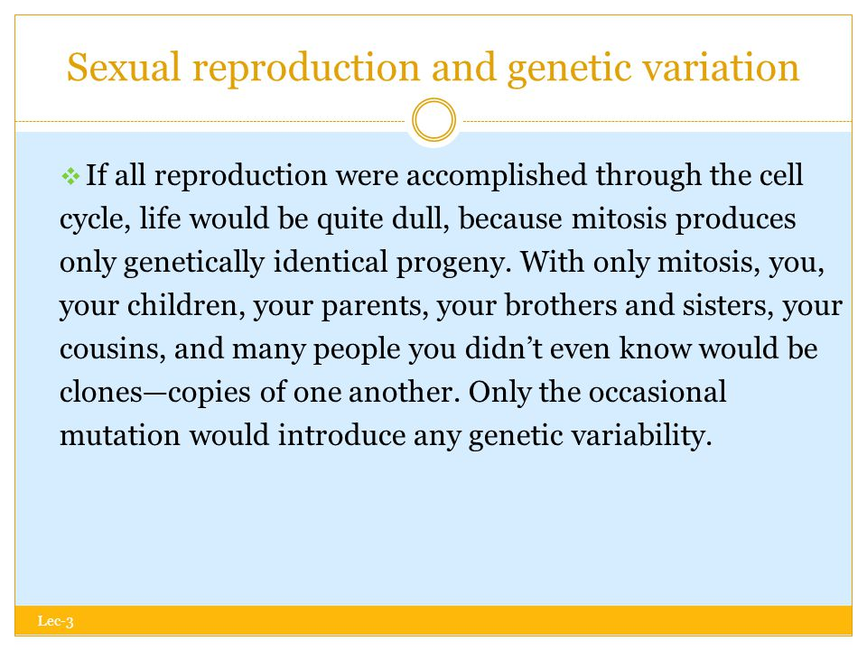 Sexual reproduction and genetic variation Lec-3  If all reproduction were accomplished through the cell cycle, life would be quite dull, because mitosis produces only genetically identical progeny.