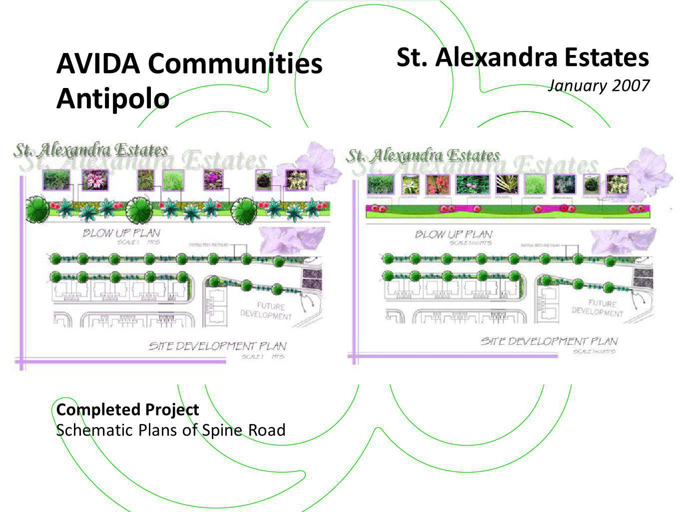 AVIDA Residences Completed Project Schematic Plans of Main Entrance, Model Units & Intersection (Phase 1) San Isidro March 2006