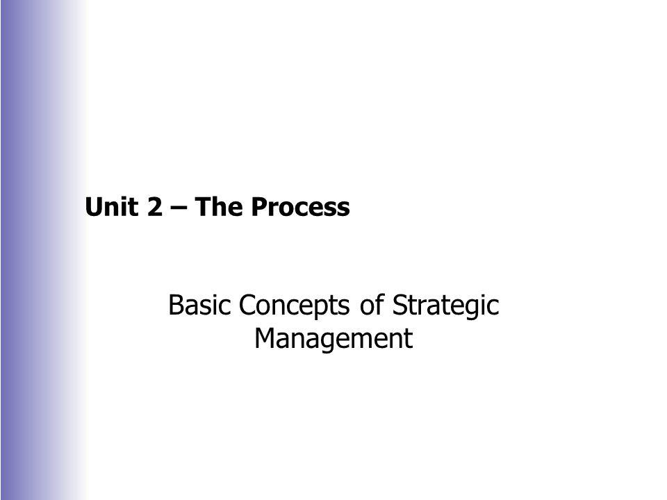 Unit 2 – The Process Basic Concepts of Strategic Management
