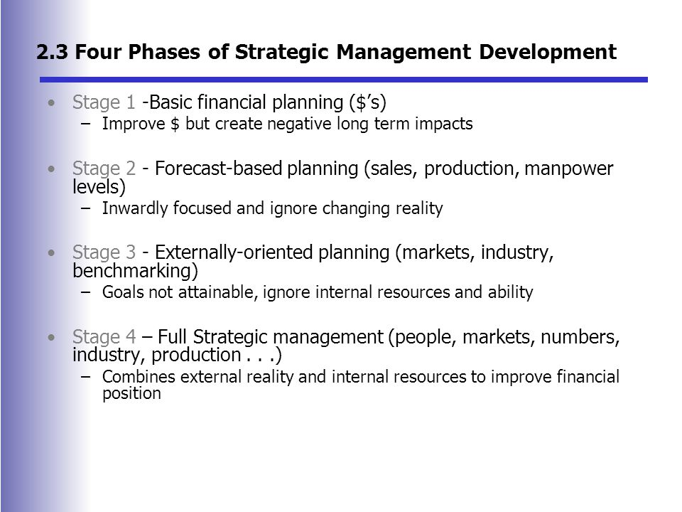 2.3 Four Phases of Strategic Management Development Stage 1 -Basic financial planning ($'s) –Improve $ but create negative long term impacts Stage 2 - Forecast-based planning (sales, production, manpower levels) –Inwardly focused and ignore changing reality Stage 3 - Externally-oriented planning (markets, industry, benchmarking) –Goals not attainable, ignore internal resources and ability Stage 4 – Full Strategic management (people, markets, numbers, industry, production...) –Combines external reality and internal resources to improve financial position