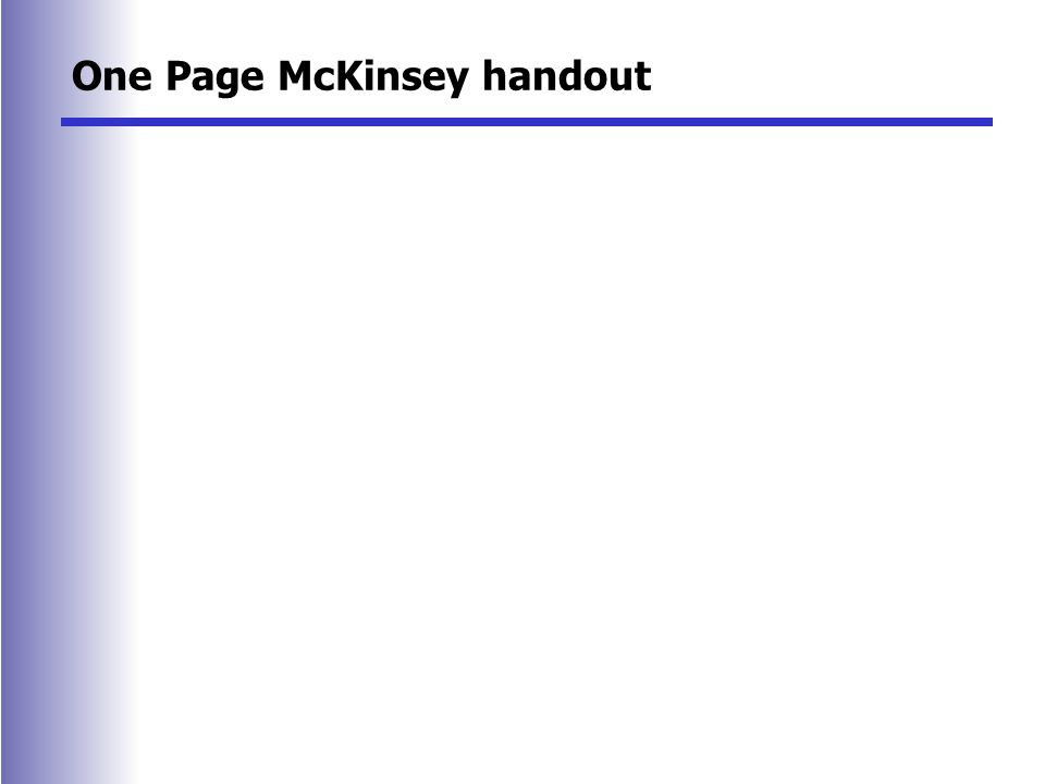 One Page McKinsey handout