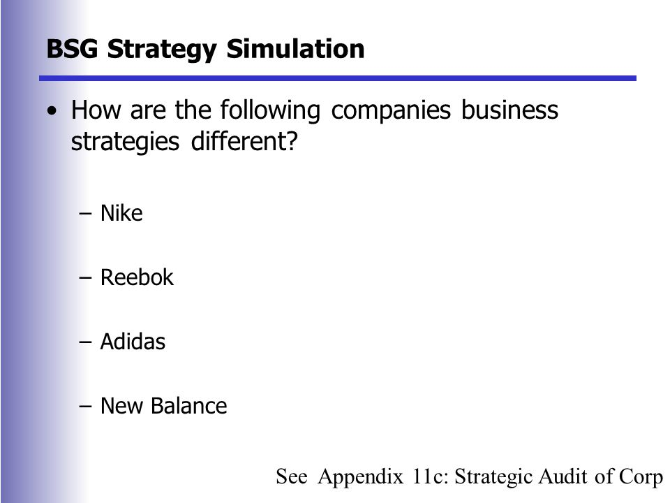 BSG Strategy Simulation How are the following companies business strategies different.