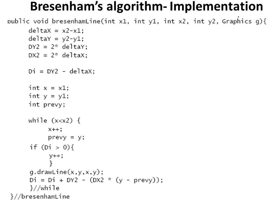 Bresenham's algorithm- Implementation