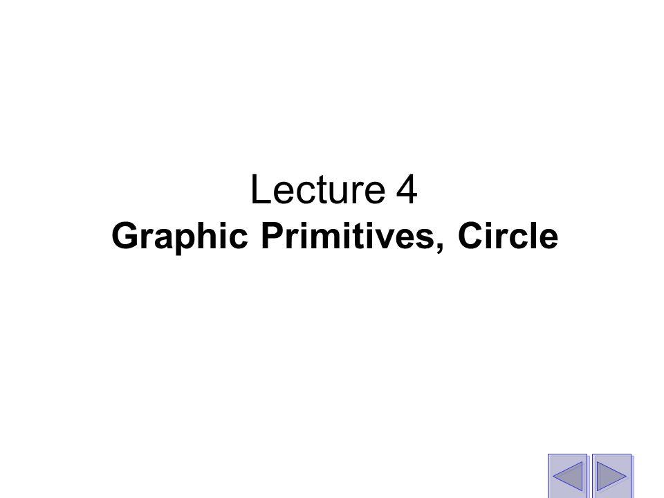 Lecture 4 Graphic Primitives, Circle