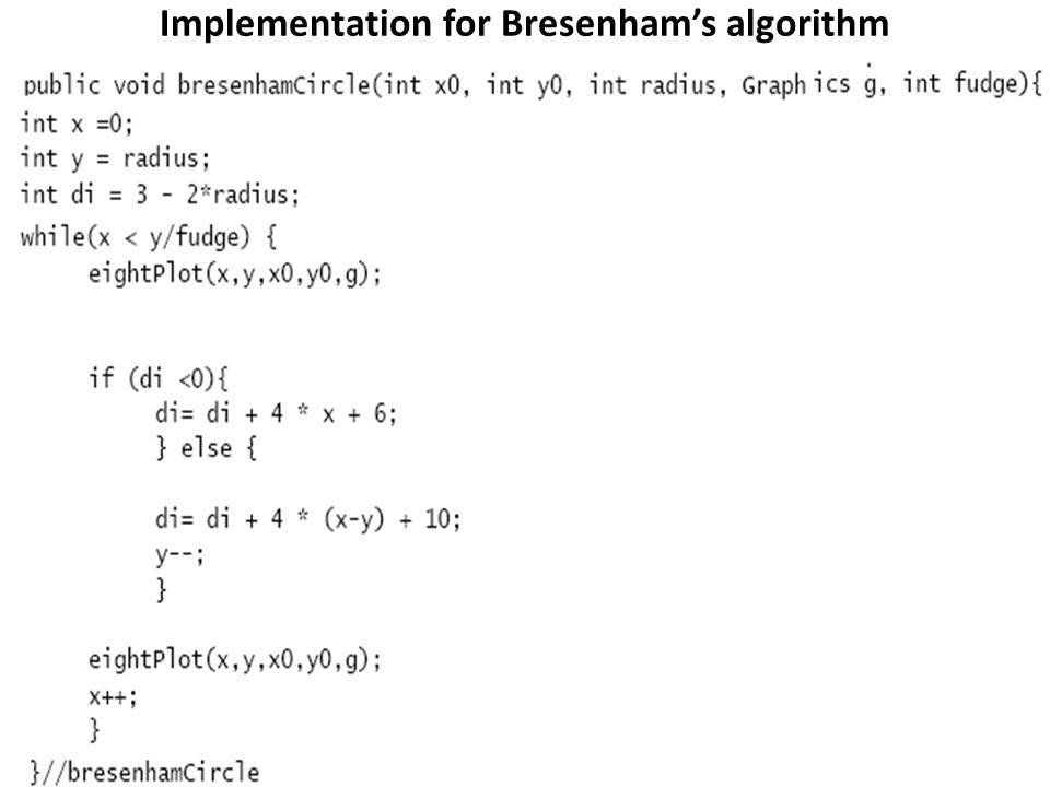 Implementation for Bresenham's algorithm