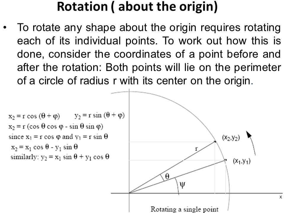 Rotation ( about the origin) To rotate any shape about the origin requires rotating each of its individual points.
