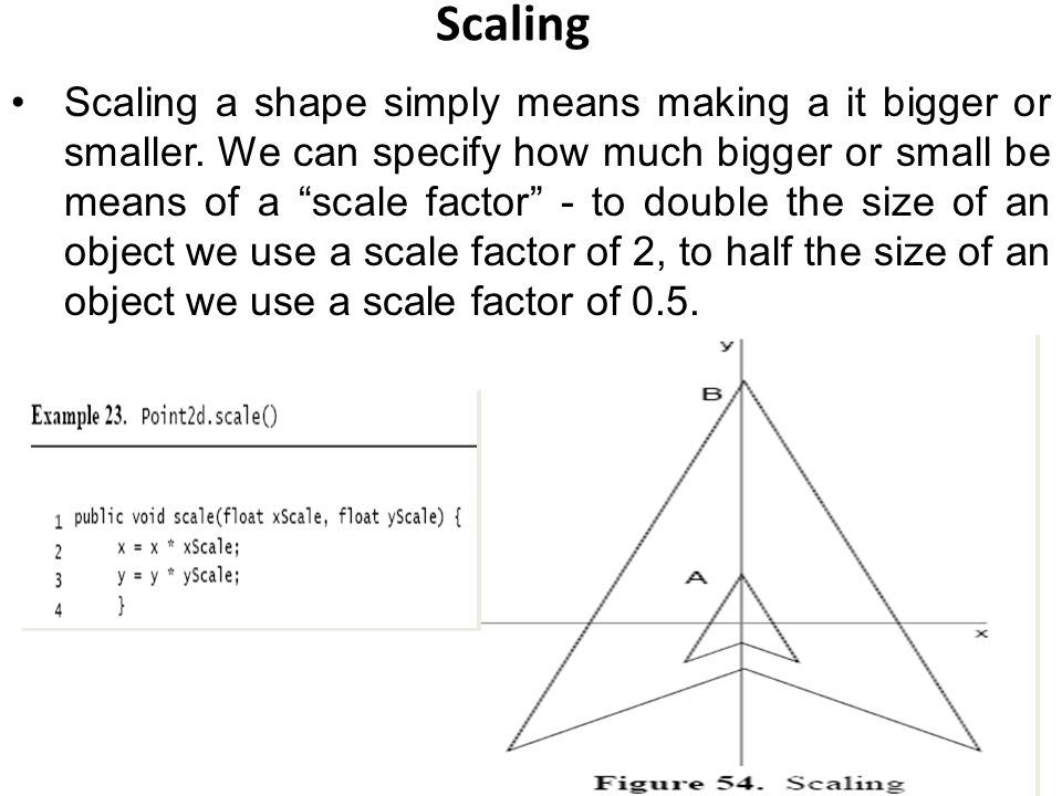 Scaling Scaling a shape simply means making a it bigger or smaller.