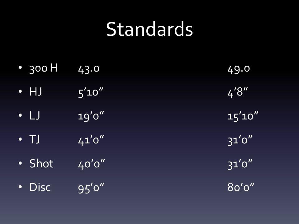 """Standards 300 H43.049.0 HJ5'10""""4'8"""" LJ19'0""""15'10"""" TJ41'0""""31'0"""" Shot40'0""""31'0"""" Disc95'0""""80'0"""""""