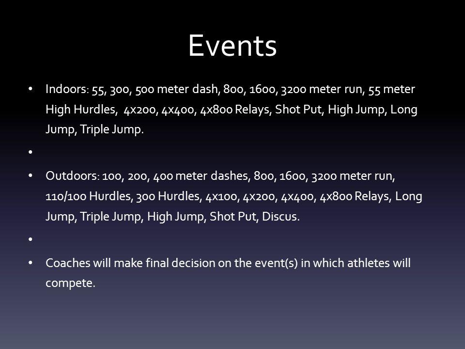 Events Indoors: 55, 300, 500 meter dash, 800, 1600, 3200 meter run, 55 meter High Hurdles, 4x200, 4x400, 4x800 Relays, Shot Put, High Jump, Long Jump, Triple Jump.