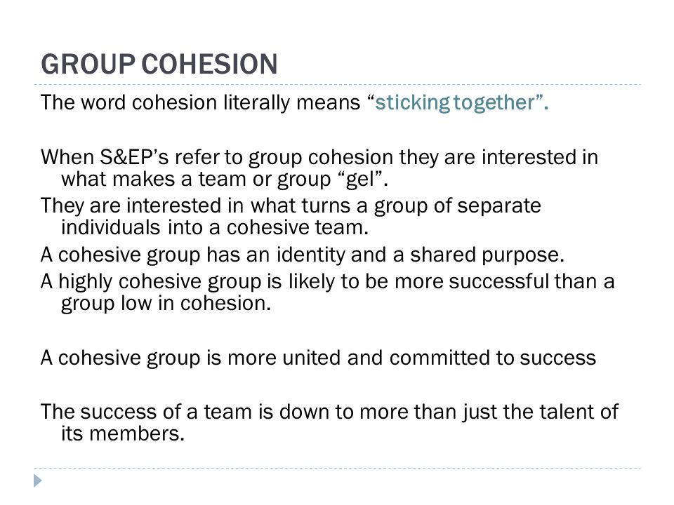 The word cohesion literally means sticking together .