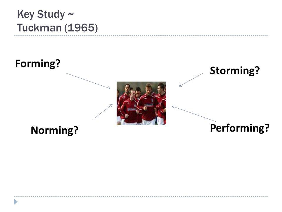 Key Study ~ Tuckman (1965) Storming Forming Norming Performing