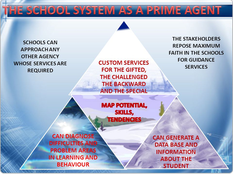 CUSTOM SERVICES FOR THE GIFTED, THE CHALLENGED THE BACKWARD AND THE SPECIAL CAN DIAGNOSE DIFFICULTIES AND PROBLEM AREAS IN LEARNING AND BEHAVIOUR CAN GENERATE A DATA BASE AND INFORMATION ABOUT THE STUDENT SCHOOLS CAN APPROACH ANY OTHER AGENCY WHOSE SERVICES ARE REQUIRED THE STAKEHOLDERS REPOSE MAXIMUM FAITH IN THE SCHOOLS FOR GUIDANCE SERVICES
