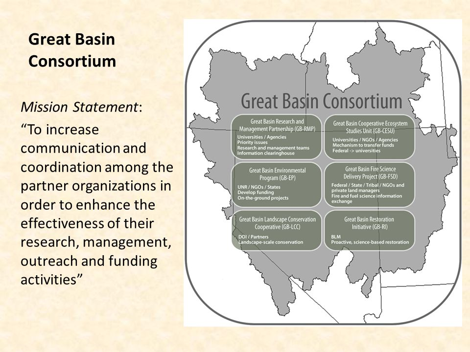 Great Basin Consortium Website: Increase communication, cooperation and collaboration among GB groups Improve communication and outreach with all stakeholders http:// environment.unr.edu/consortiumhttp:// environment.unr.edu/consortium/