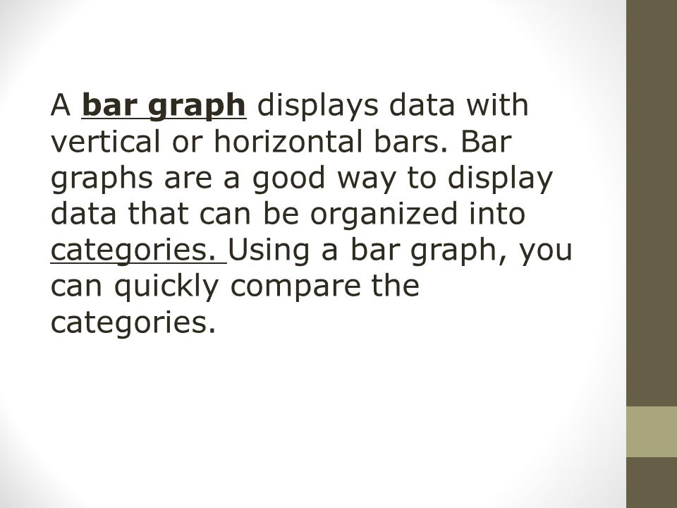 A bar graph displays data with vertical or horizontal bars. Bar graphs are a good way to display data that can be organized into categories. Using a b