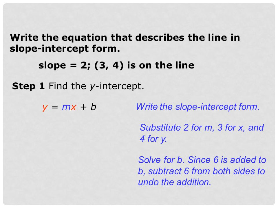 Write the equation that describes the line in slope-intercept form. slope = 2; (3, 4) is on the line Step 1 Find the y-intercept. y = mx + b Write the