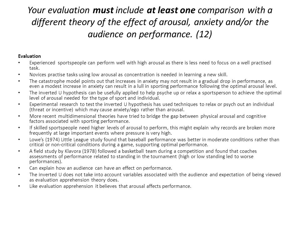 Your evaluation must include at least one comparison with a different theory of the effect of arousal, anxiety and/or the audience on performance. (12