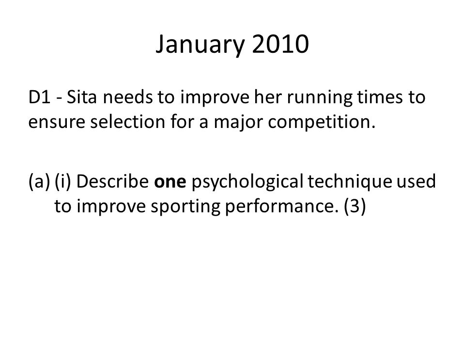 4 marks Very good detail of how quantitative data might be gathered in sports psychology using a range of ideas expressed well.