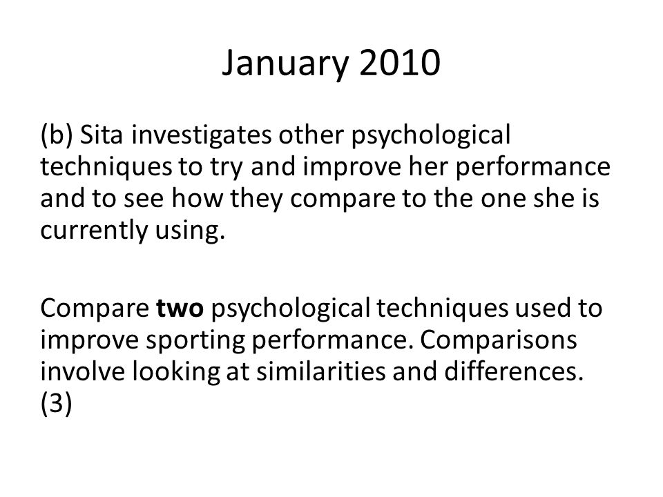 January 2013 (C) A sports psychologist was interested to see if there was a relationship between sporting performance and anxiety.